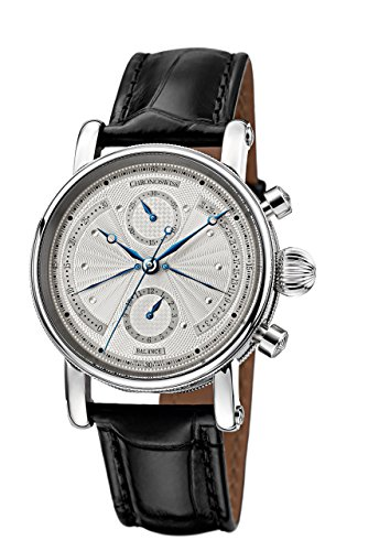 orologio di lusso Chronoswiss Sirius Retrograde – automatico da uomo con display argentato e cronografo e cinturino nero 7543B